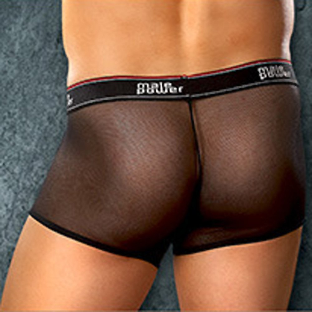 Male Power Mesh Branded Elastic Pouch Shorts Large Black - View #2