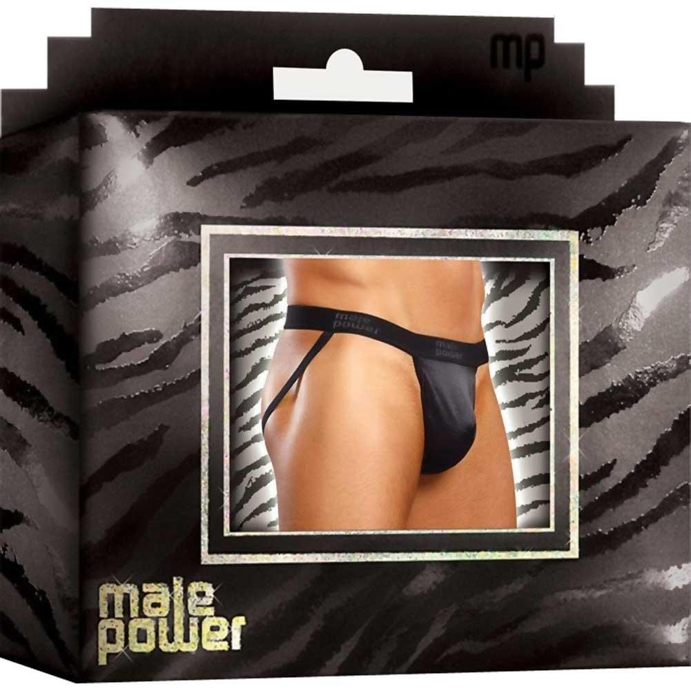 Male Power Satin Lycra Jock Strap Large/Extra Large Black - View #2
