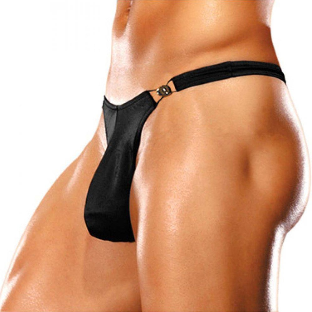 Male Power Bong Clip Thong Small/Medium Black - View #1