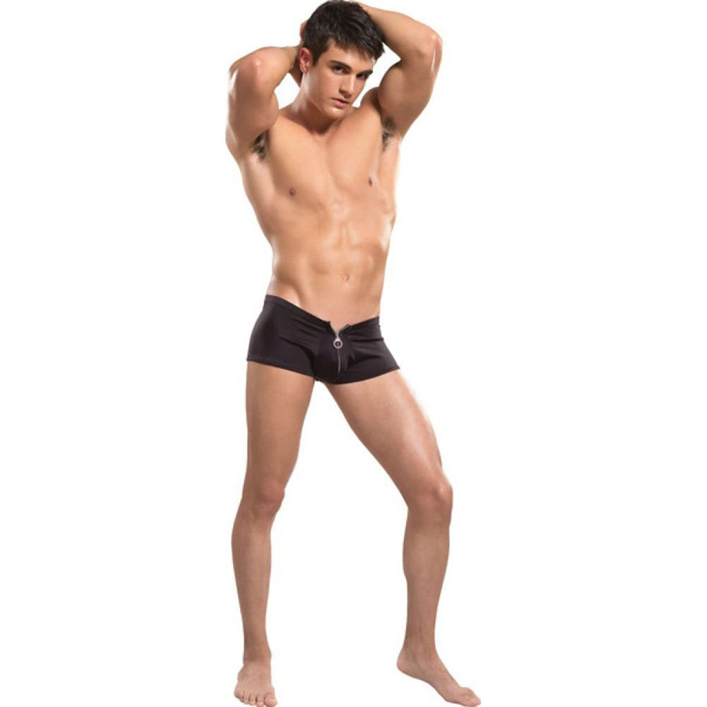 Male Power Zipper Shorts Small/Medium Black - View #3