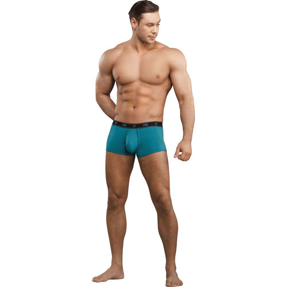 Male Power Bamboo Low Rise Pouch Enhancer Shorts Large Teal - View #3