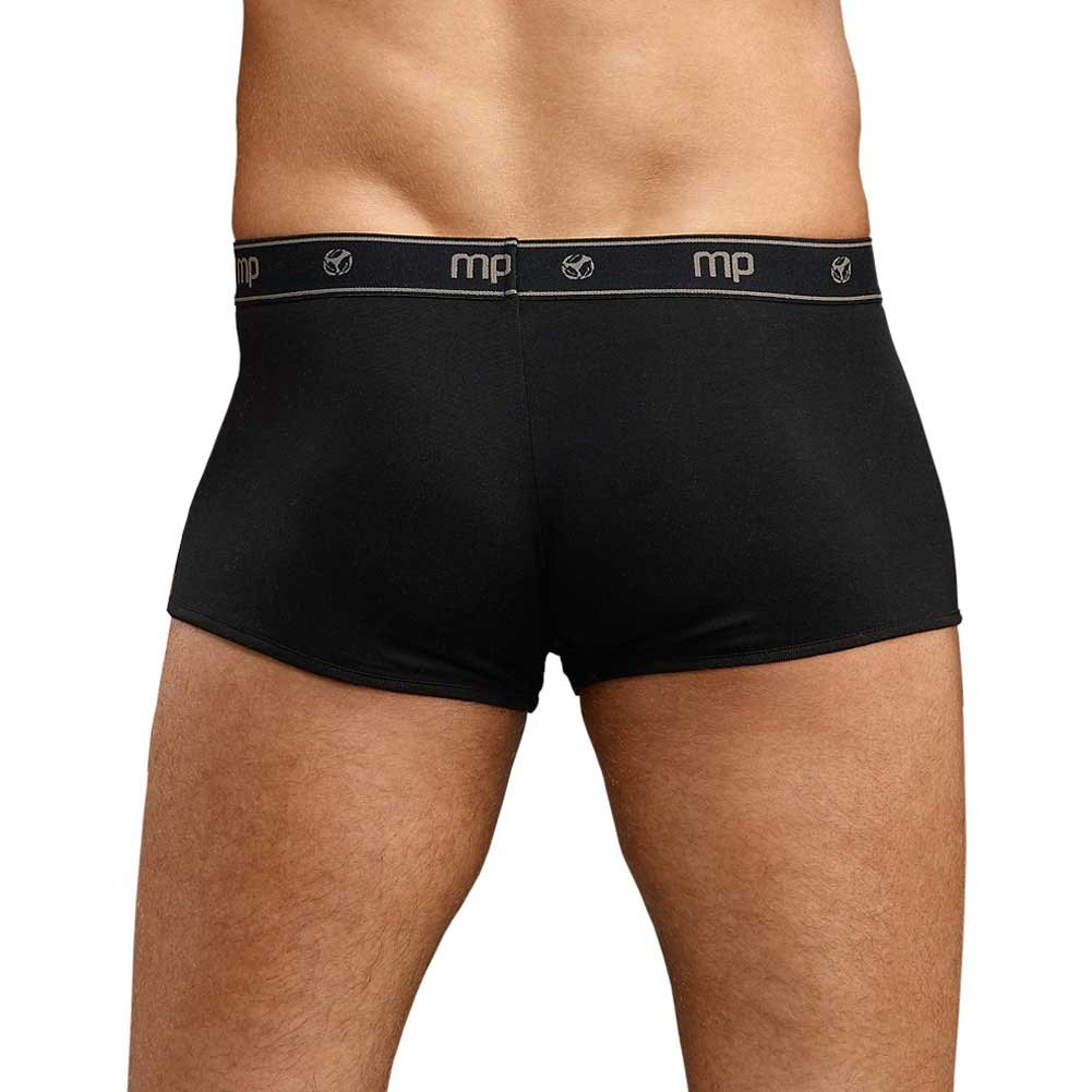 Male Power Bamboo Low Rise Pouch Enhancer Shorts Medium Black - View #2
