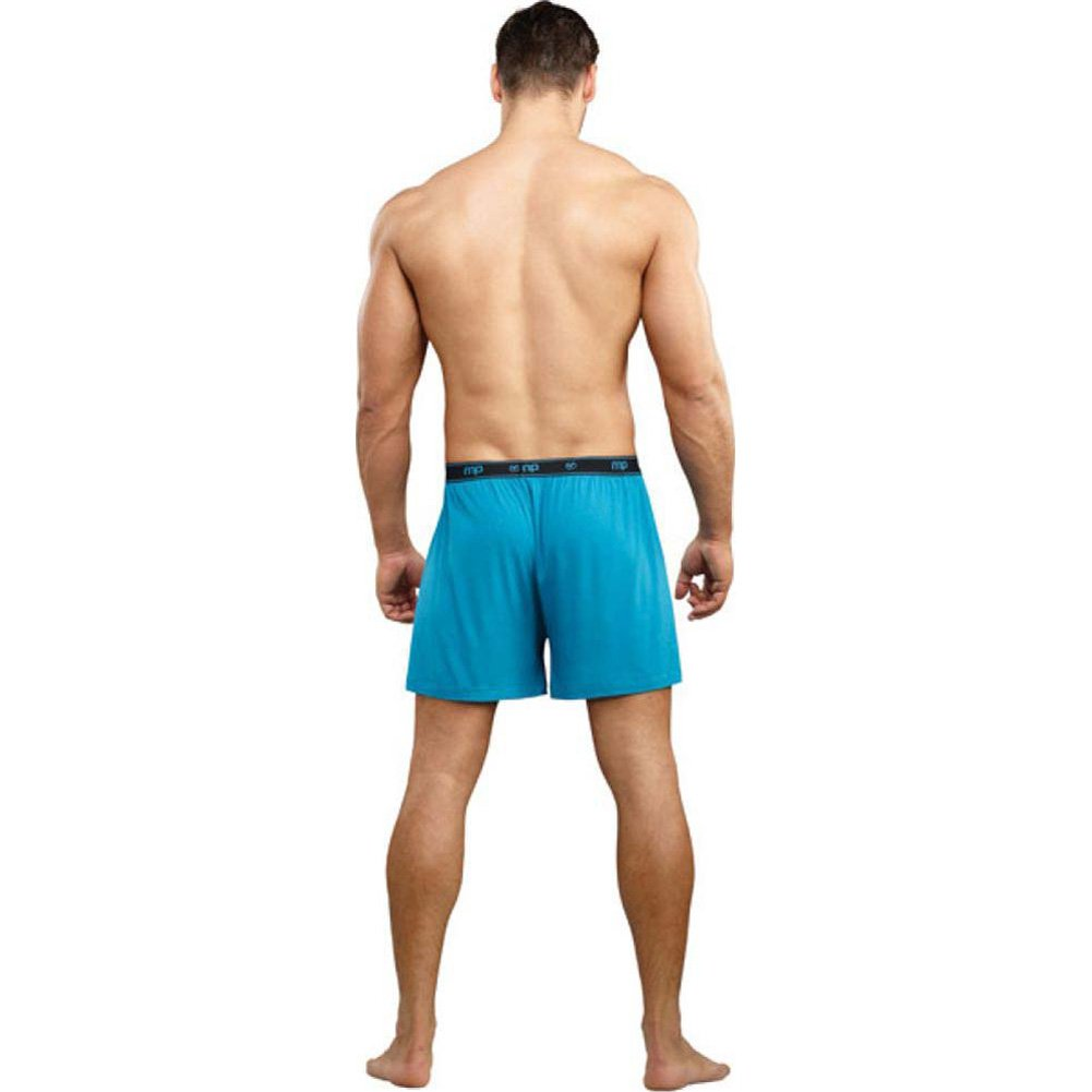 Male Power Bamboo Boxer Shorts Small Teal - View #2