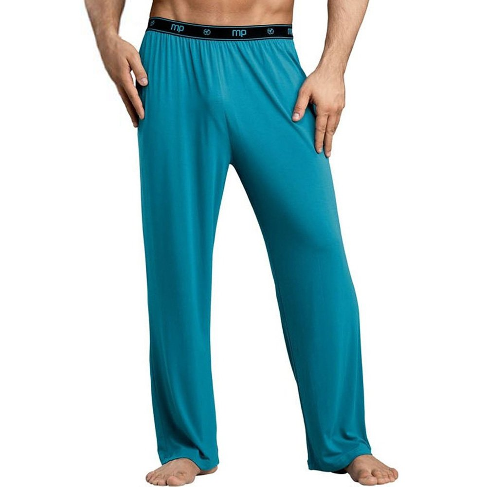 Male Power Bamboo Lounge Pants Large Teal - View #1