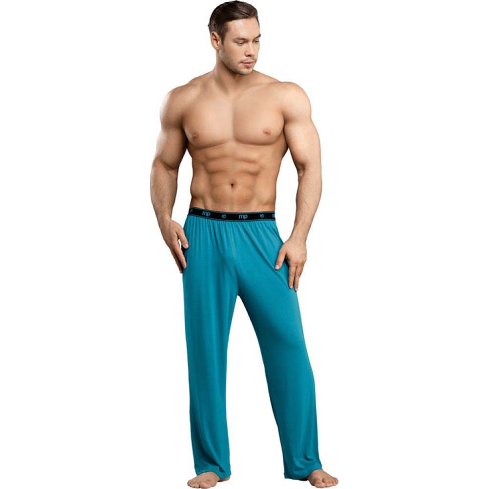 Male Power Bamboo Lounge Pants Small Teal - View #3