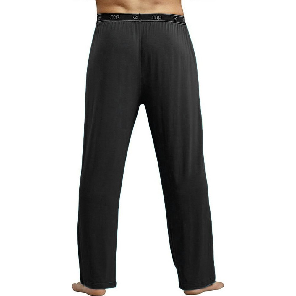 Male Power Bamboo Lounge Pants Medium Black - View #2