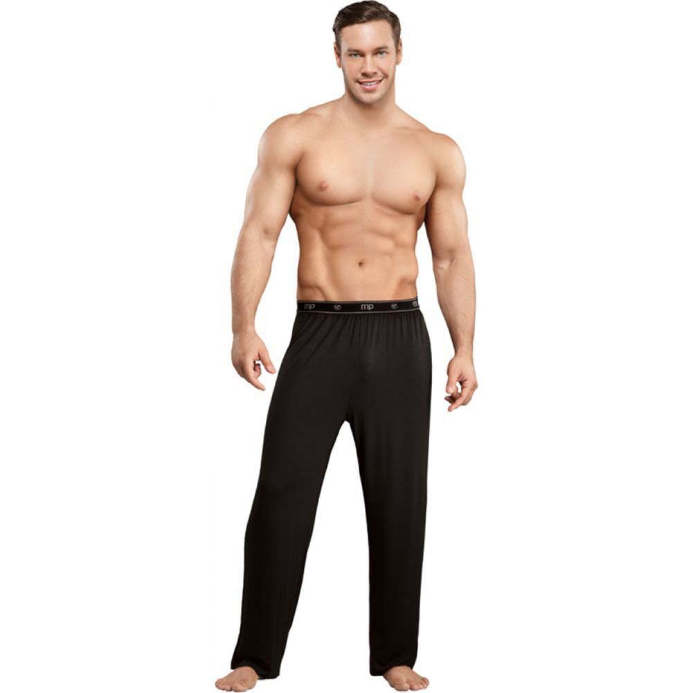 Male Power Bamboo Lounge Pants Small Black - View #3