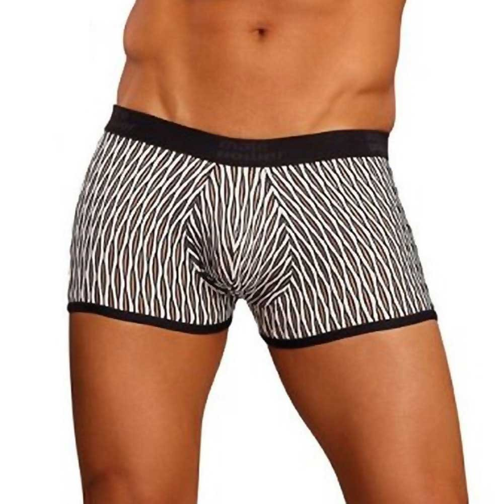 Male Power Wave Mini Pouch Short Large White and Black - View #1
