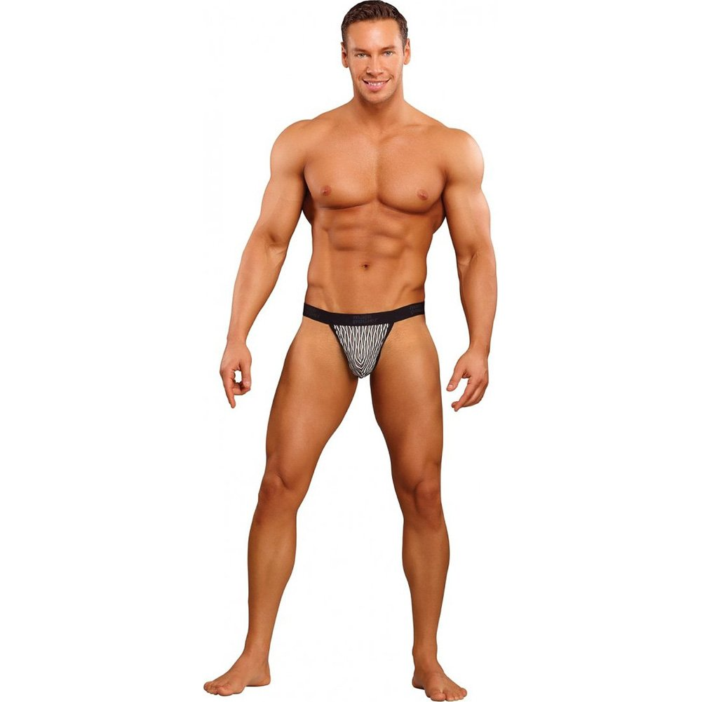 Male Power Classy Wave Micro Thong with Contour Pouch Large Black/White - View #3
