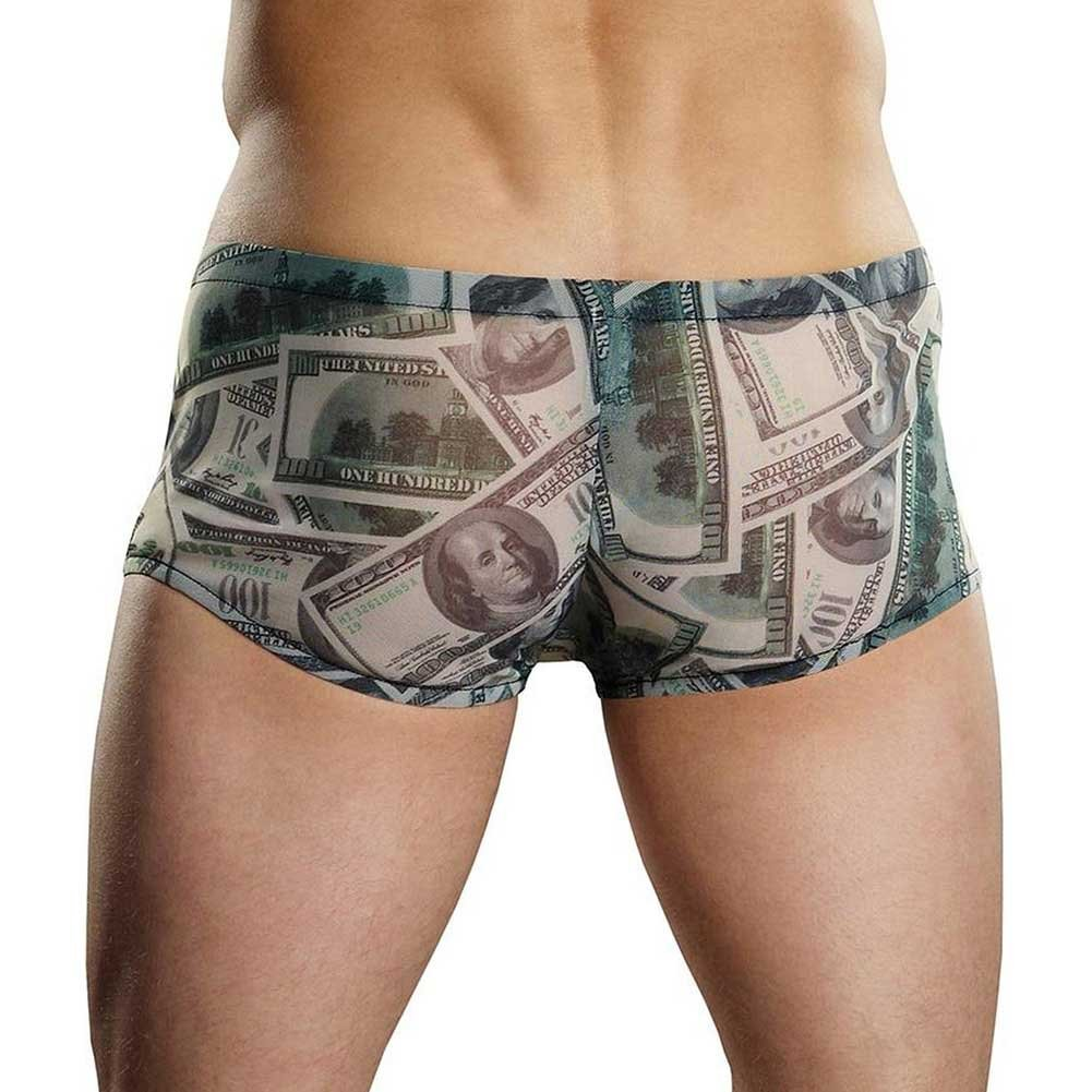 Male Power Benjamin Hundred Dollar Bills Printed Mini Shorts Medium Banknote Print - View #2