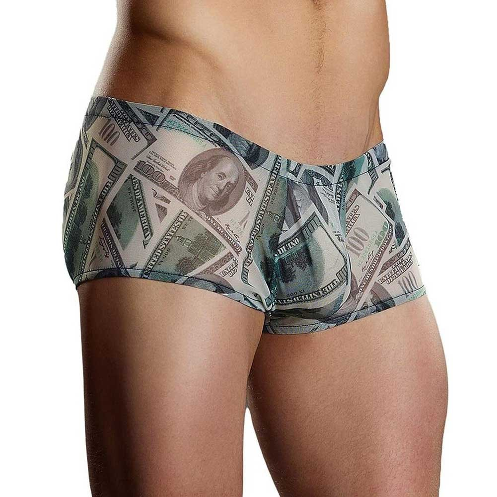Male Power Benjamin Hundred Dollar Bills Printed Mini Shorts Large Banknote Print - View #1