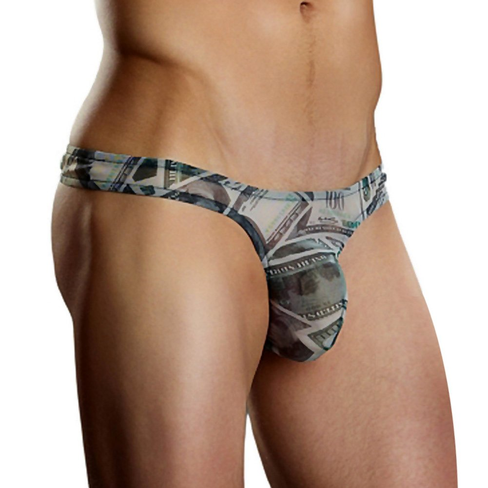 Male Power Benjamin Hundred Dollar Bill Bong Thong Small/Medium Print - View #1