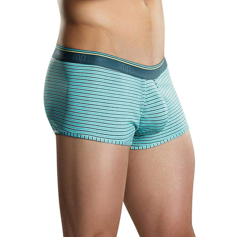 Male Power Heather Stripe Pouch Enhancer Shorts Small Mint/Grey - View #1