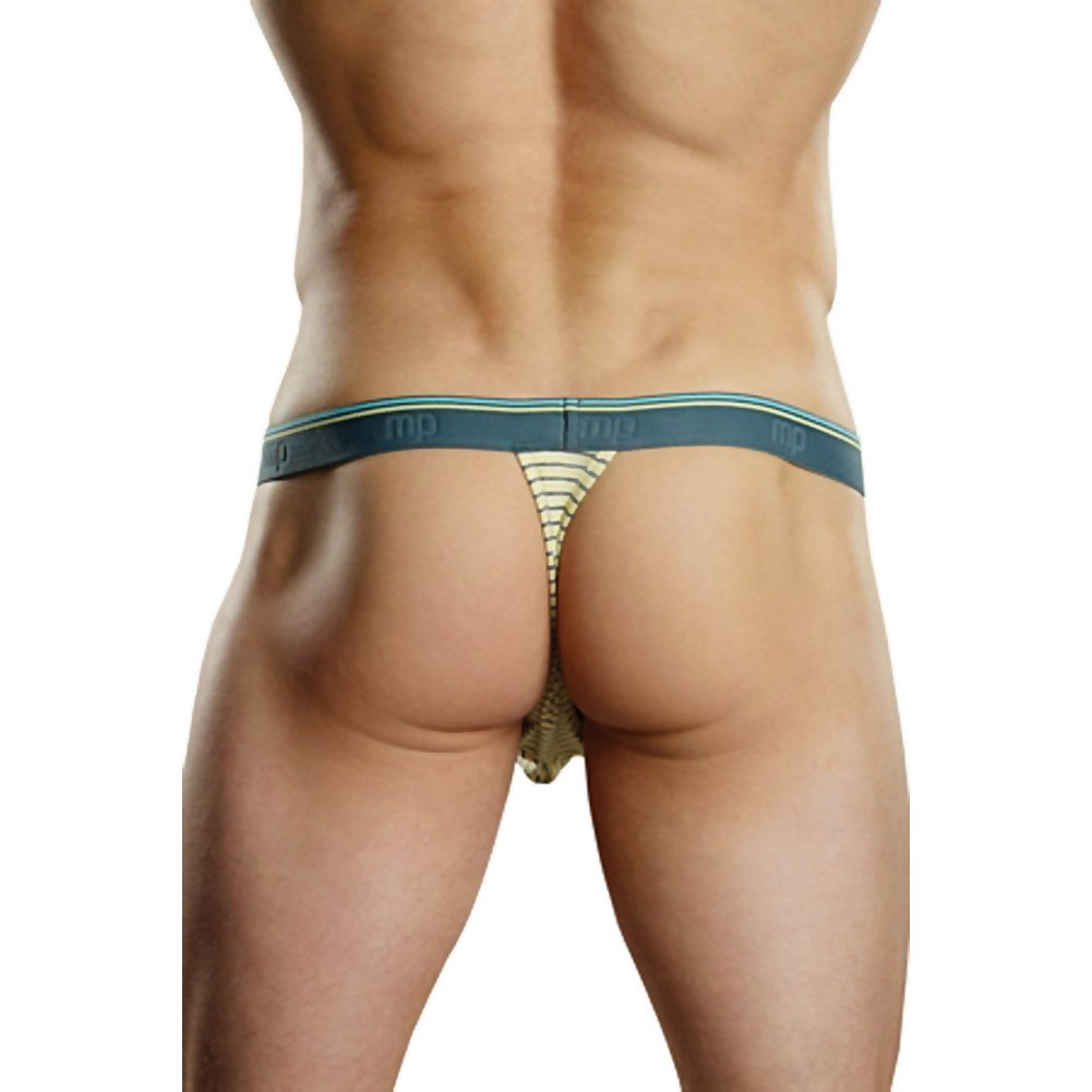 Male Power Heather Stripe Micro Bong Thong. Small/Medium Yellow/Grey - View #2