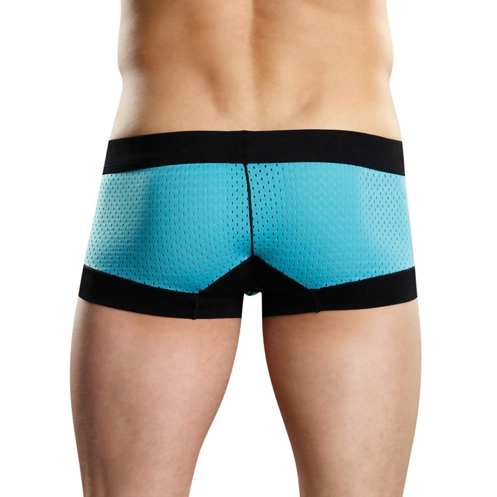 Male Power Sport Athletic Mesh Shorts Large Turquoise/Black - View #2