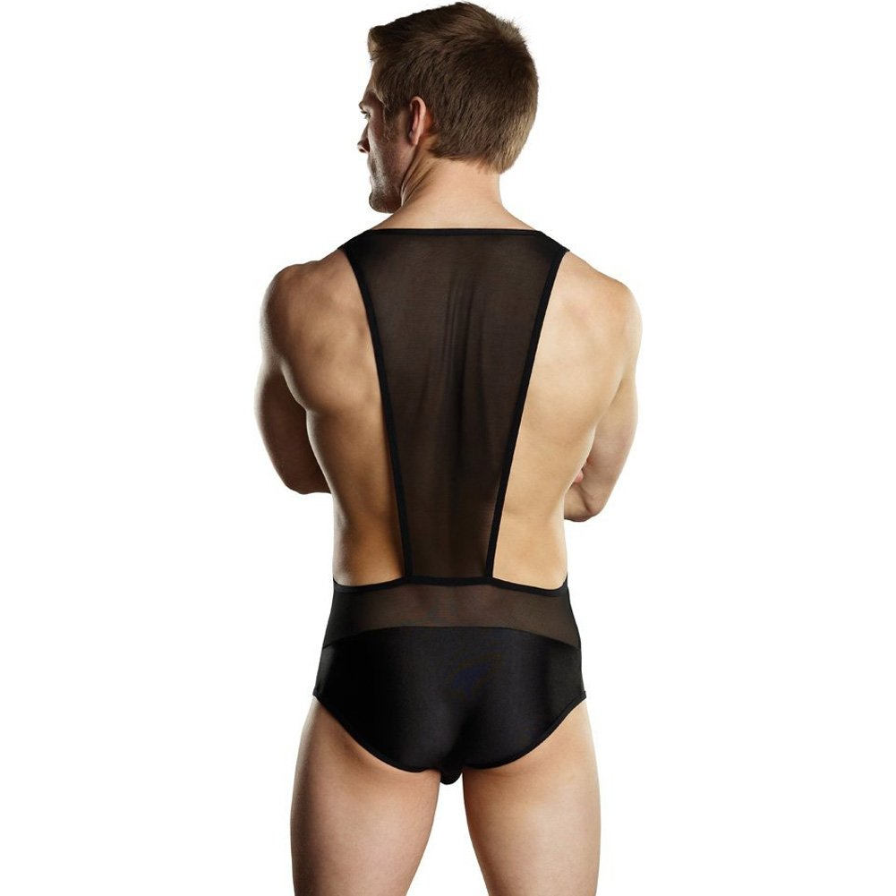 Male Power Sheer Spandex Bodysuit Singlet Large/Extra Large Black - View #2