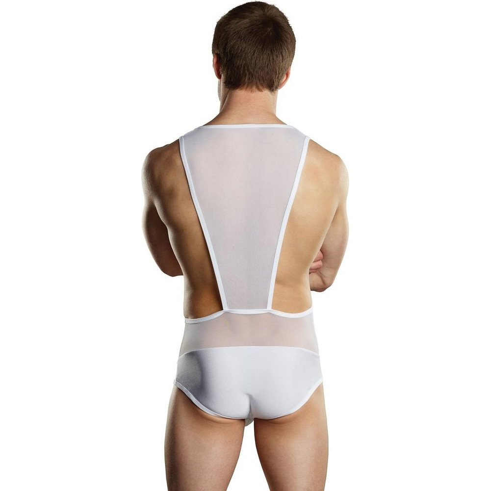 Male Power Sheer Spandex Bodysuit Singlet Small/Medium White - View #2