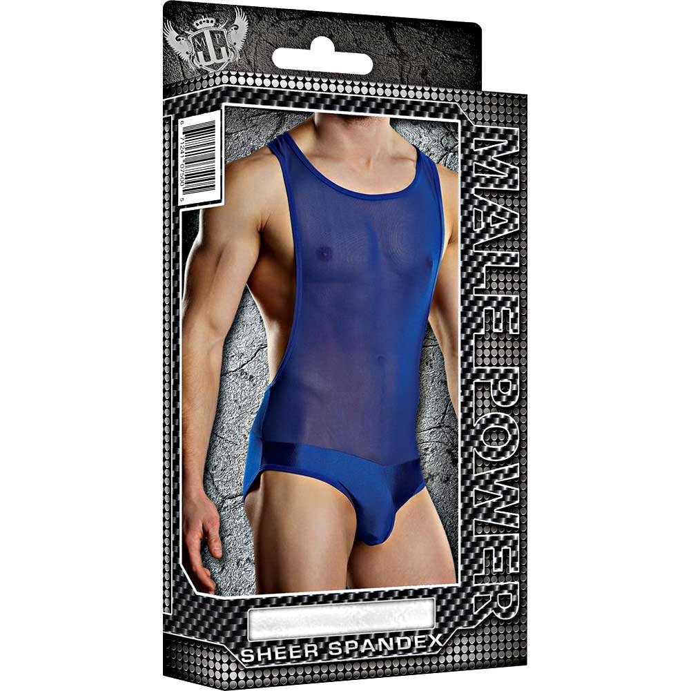 Male Power Sheer Spandex Bodysuit Singlet Large/Extra Large Royal Blue - View #3