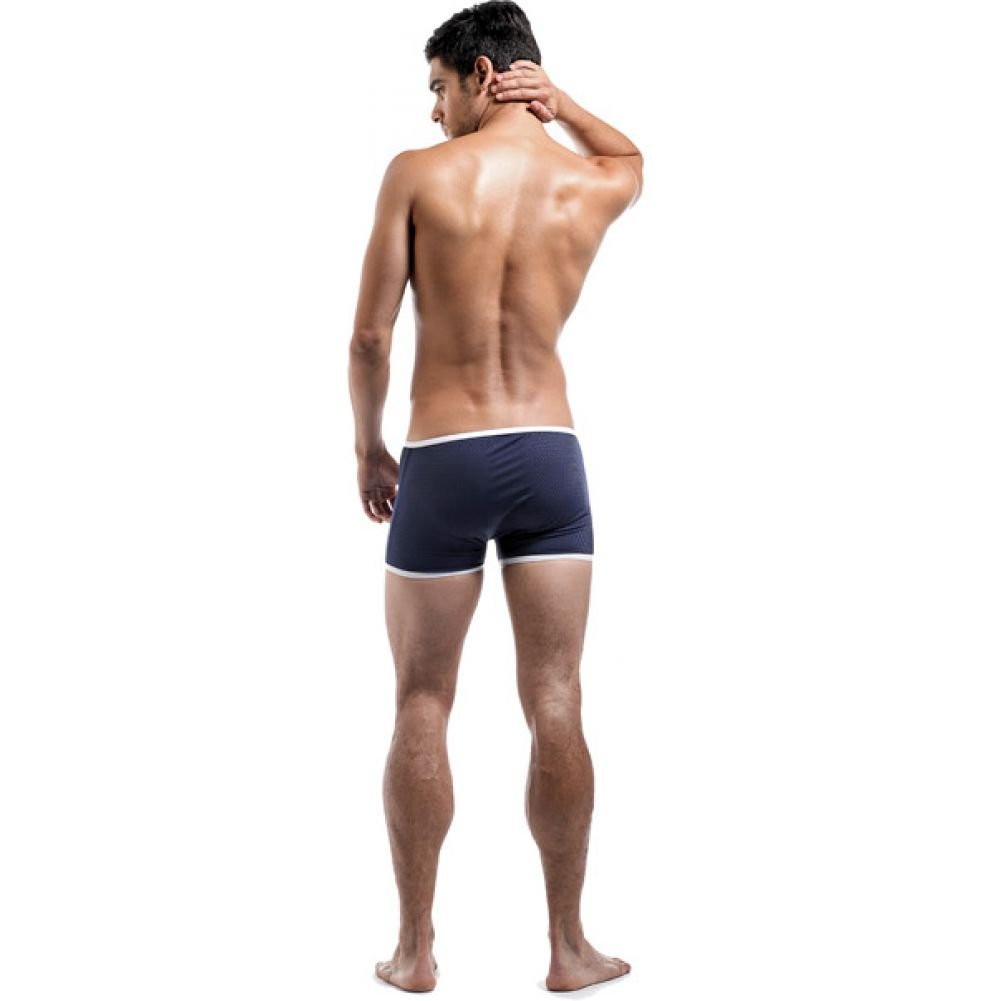 Male Power Fly Away Breathable Snap Pouch Shorts Large Navy - View #4