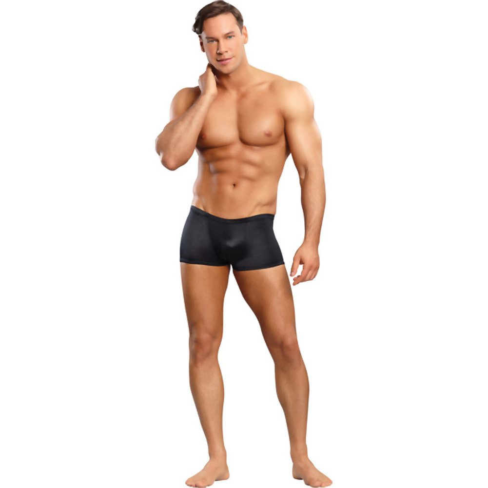 Male Power Satin Low-Rise Lycra Boxer Briefs Extra Large Black - View #3