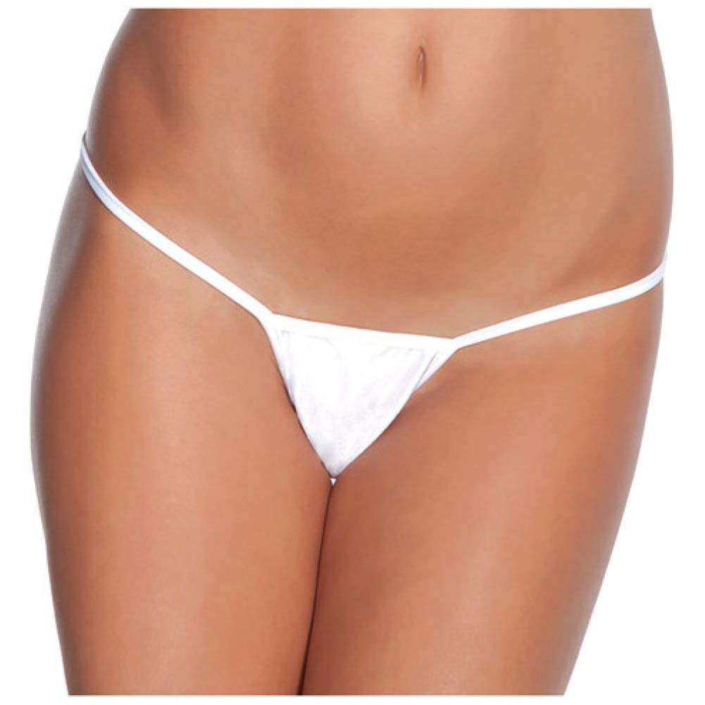 Coquette Lingerie Classic Low Rose Lycra G-String One Size White - View #1