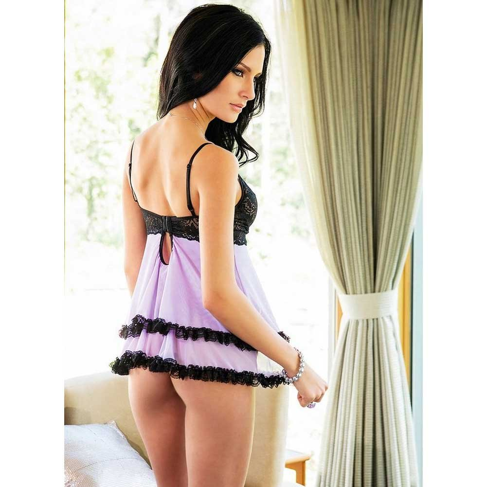 Coquette Scalloped Stretch Lace and Mesh Babydoll and G-String Set Medium Lilac/Black - View #2