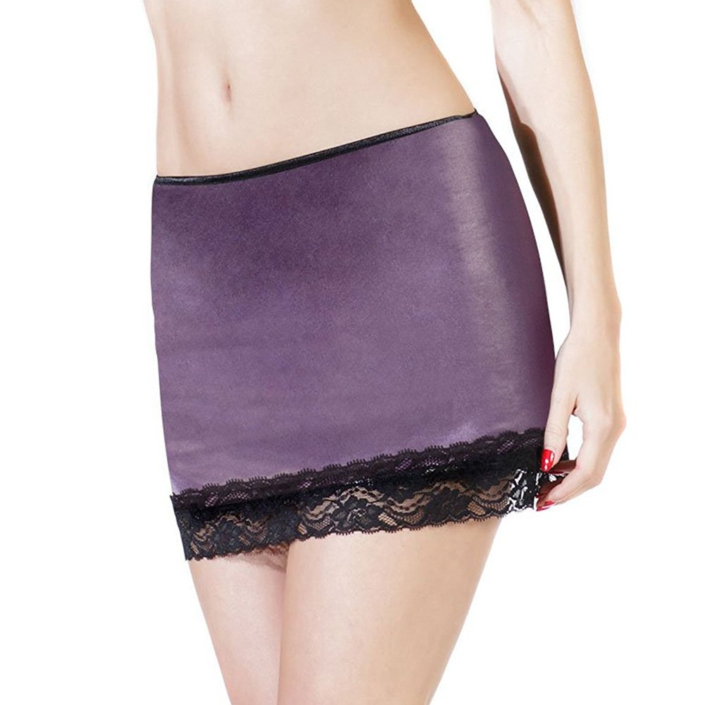 Darque Wet Look Skirt with Scalloped Stretch Lace Trim Purple Large - View #1