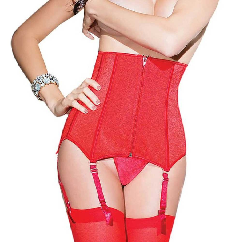 Coquette Lingerie Fully Boned Stretch Knit Waist Cincher with Lace-Up Back Small Red - View #2