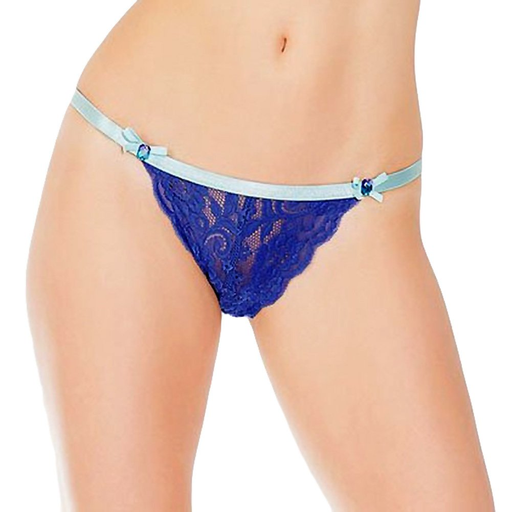 Coquette Lingerie Crotchless Lace Panty with Contrasting Waistband One Size Cobalt/Aqua - View #1