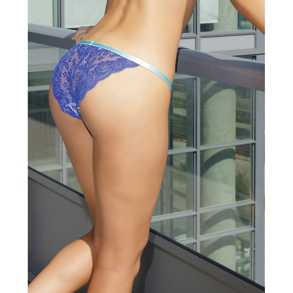 Coquette Lingerie Crotchless Lace Panty with Contrasting Waistband X-Large Cobalt/Aqua - View #4
