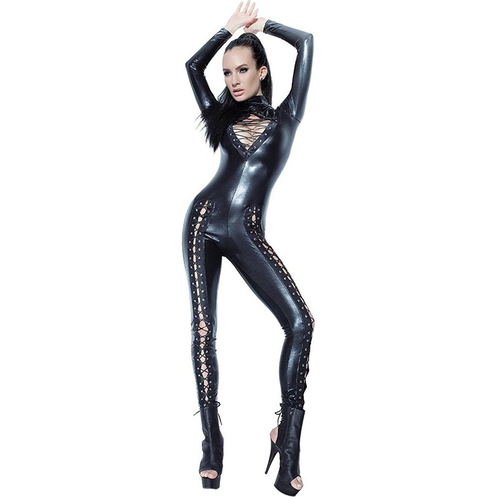 Coquette Lingerie Darque Wet Look Jumpsuit with Lace Detail and Back Zipper Closure Medium Black - View #1