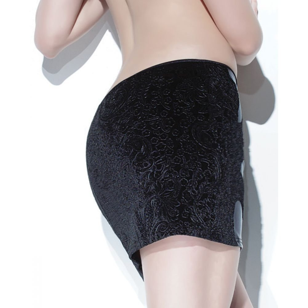 Coquette Lingerie Darque Matte Wet Look Skirt with Embossed Velvet Back Medium Black - View #1