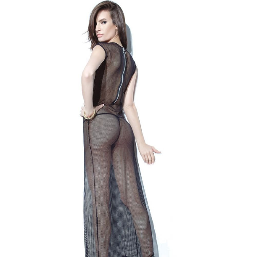 Coquette Lingerie Darque Fishnet Gown with Back Zipper One Queen Size Black - View #2