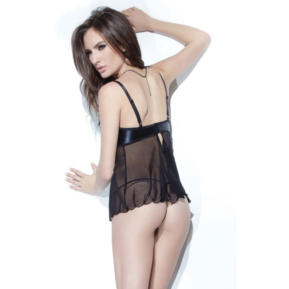 Coquette Lingerie Darque Wet Look Mesh Scalloped Lace Babydoll and G-String Set Small Black - View #2
