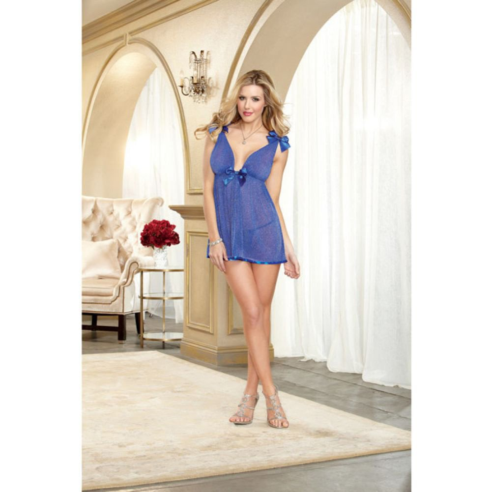 Dreamgirl Lingeire Metallic Sparkle Mesh Babydoll Adjustable Straps and G-StringOne SizeSapphire - View #4