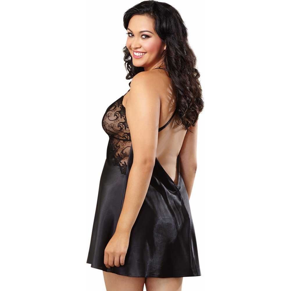 Dreamgirl Lingerie Satin Chemise with Embroidery Cup Criss-Cross Straps Low Back 3X/4X Black - View #2
