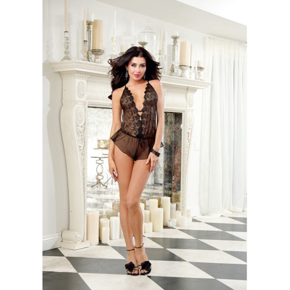 Dreamgirl Lingerie Sheer Embroidery Teddy with Flutter Shorts and Elastic Waist Small Black - View #3