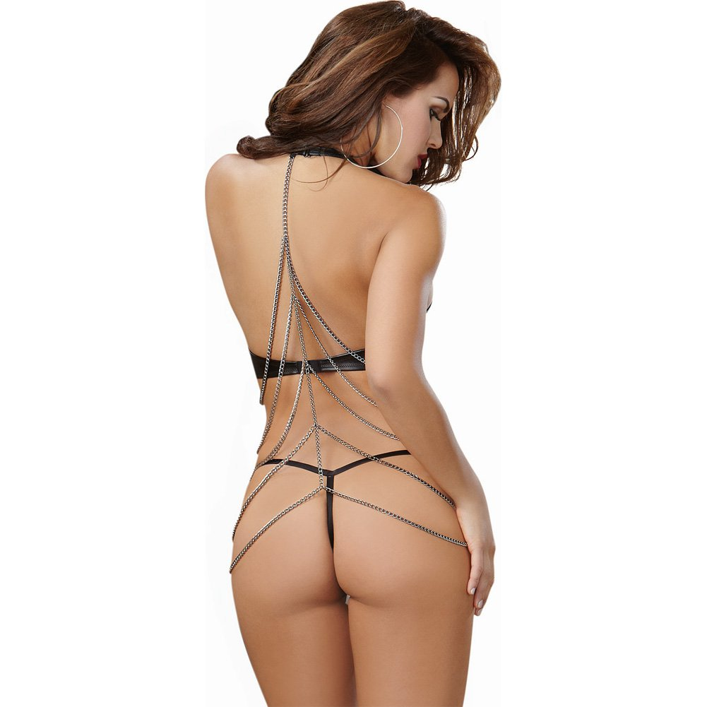 Dreamgirl Lingerie Faux Leather Halter G-String Teddy with Open Back and Chain Medium Black - View #2