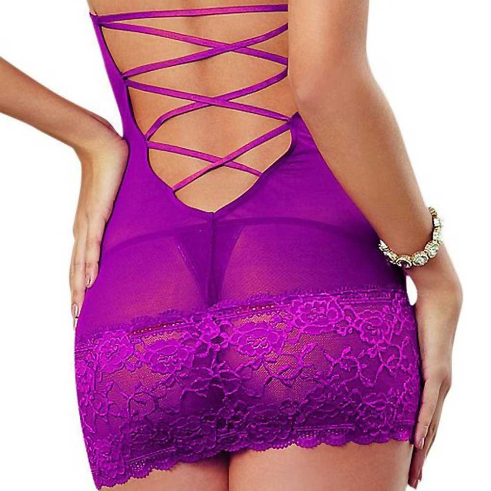 Dreamgirl Lingerie Stretch Lace Galloon and Stretch Mesh Spandex Halter Chemise Large Raspberry - View #4