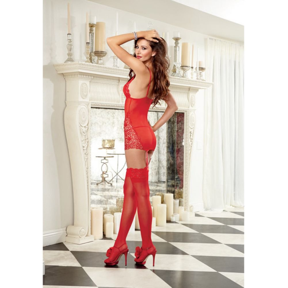 Dreamgirl Lingerie Stretch Mesh Garter Slip with Removable Straps and G-String Large Red - View #4