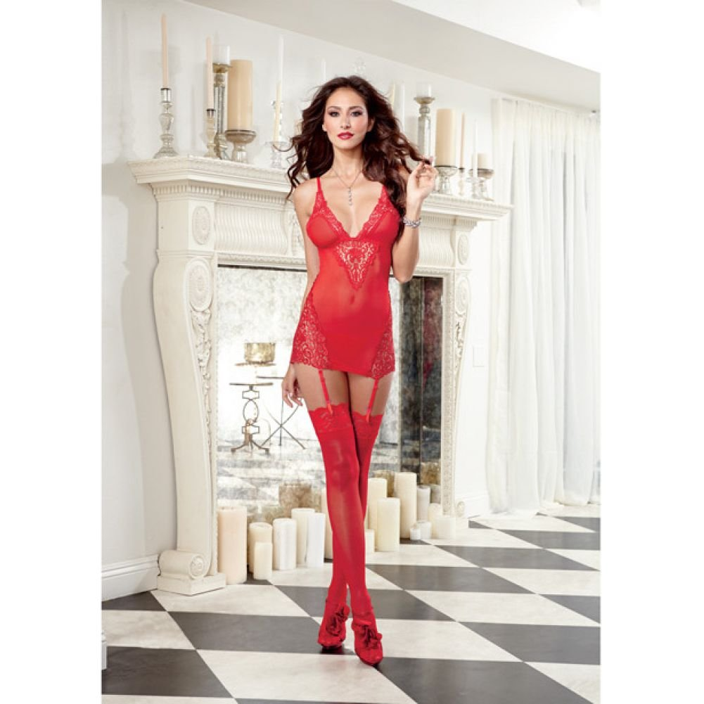 Dreamgirl Lingerie Stretch Mesh Garter Slip with Removable Straps and G-String Extra Large Red - View #3