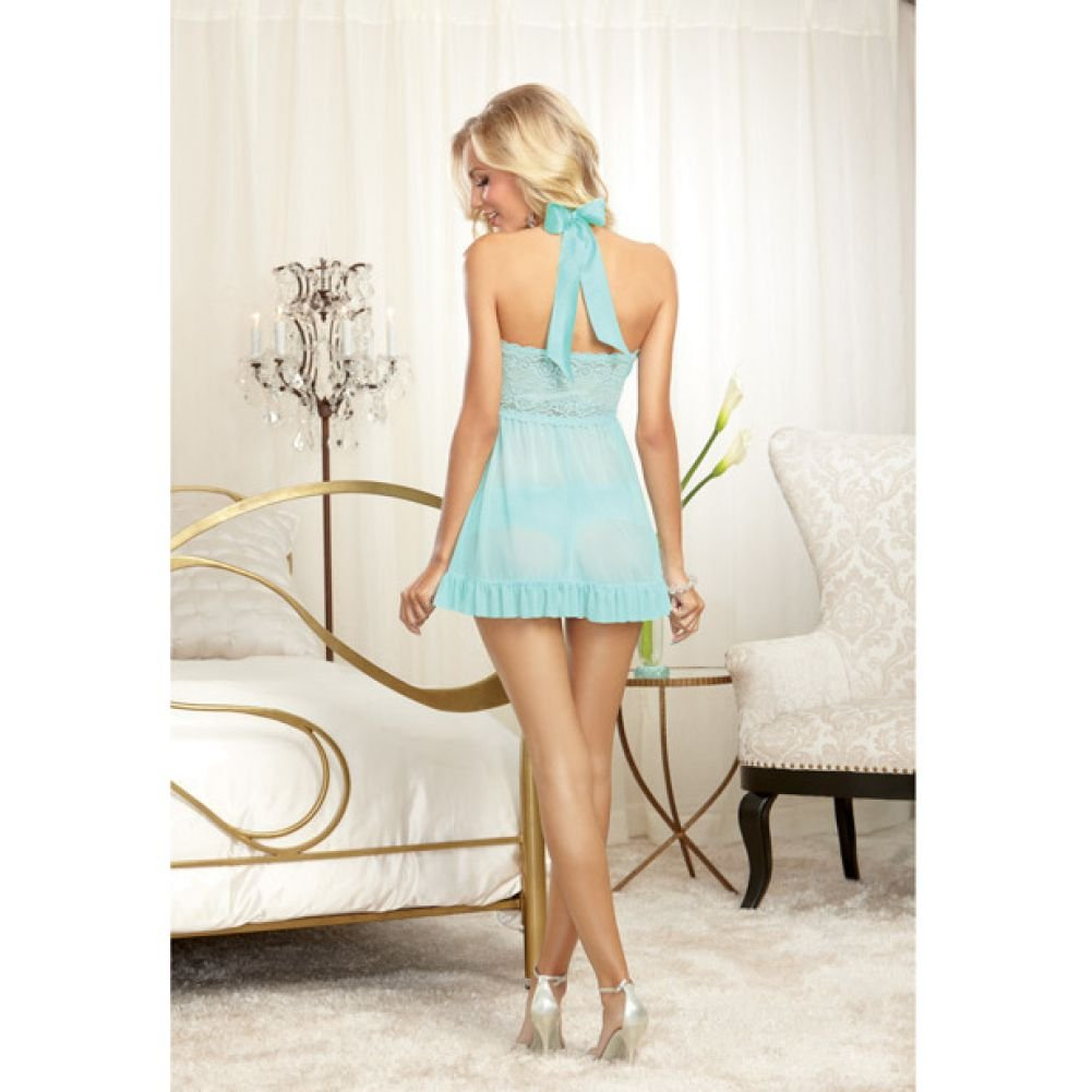 Dreamgirl Stretch Lace Galloon Halter Babydoll and Lace Tanga Panty Medium Aqua - View #4