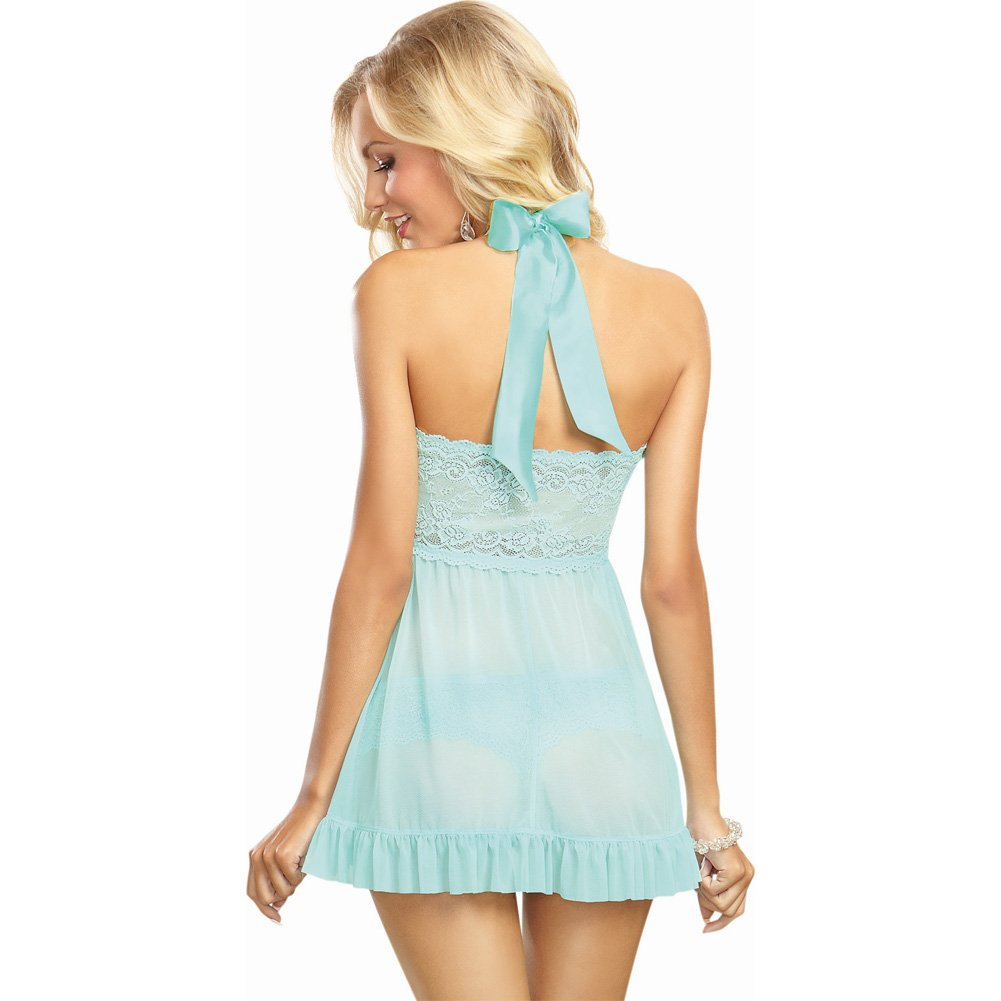 Dreamgirl Lingerie Stretch Lace Galloon Halter Babydoll and Lace Tanga Panty Extra Large Aqua - View #2