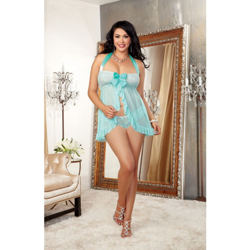 Dreamgirl Stretch Lace Galloon Halter Babydoll and Lace Tanga Panty 1X/2X Aqua - View #3