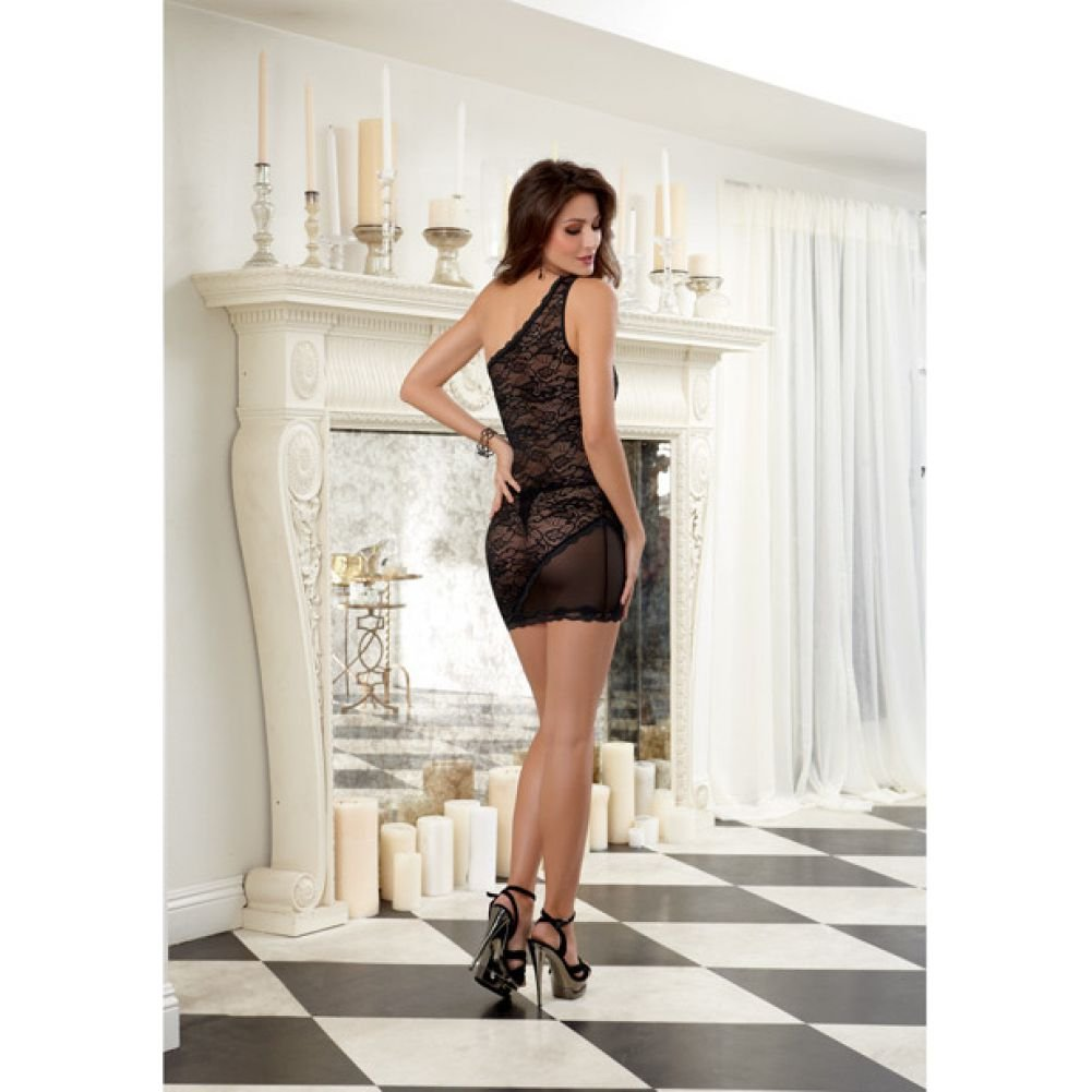 Dreamgirl Lingerie Stretch Lace One Shoulder Chemise with Stretch Mesh and Thong Large Black - View #4