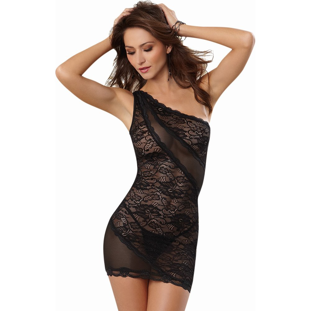 Dreamgirl Lingerie Stretch Lace One Shoulder Chemise with Stretch Mesh and Thong Extra Large Black - View #1