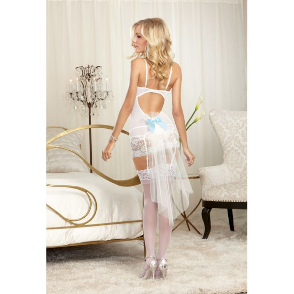 Dreamgirl Lingerie Nuptial Lace Underwire Garter SlipTulle Straps G-String Small Pearl - View #3