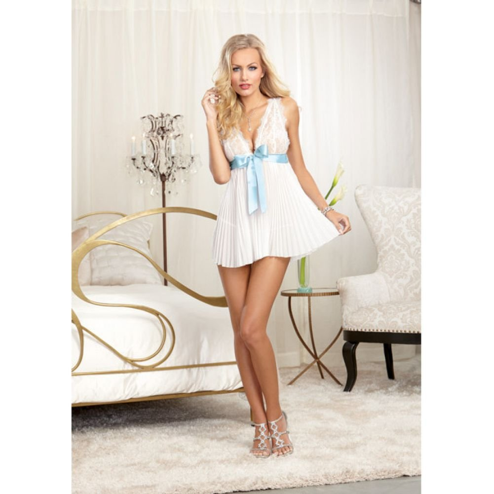 Dreamgirl Lingerie Nuptial Pleated Chiffon Flyaway Back Babydoll with Open Back Panty Medium Pearl - View #3