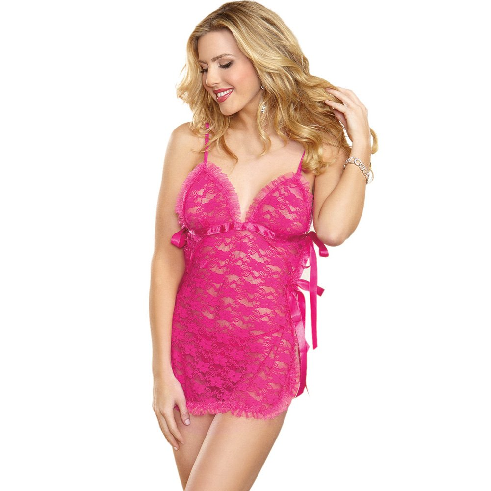 Dreamgirl Lingerie Lace Toga Chemise with Satin Ties and G-String One Size Fuchsia - View #1