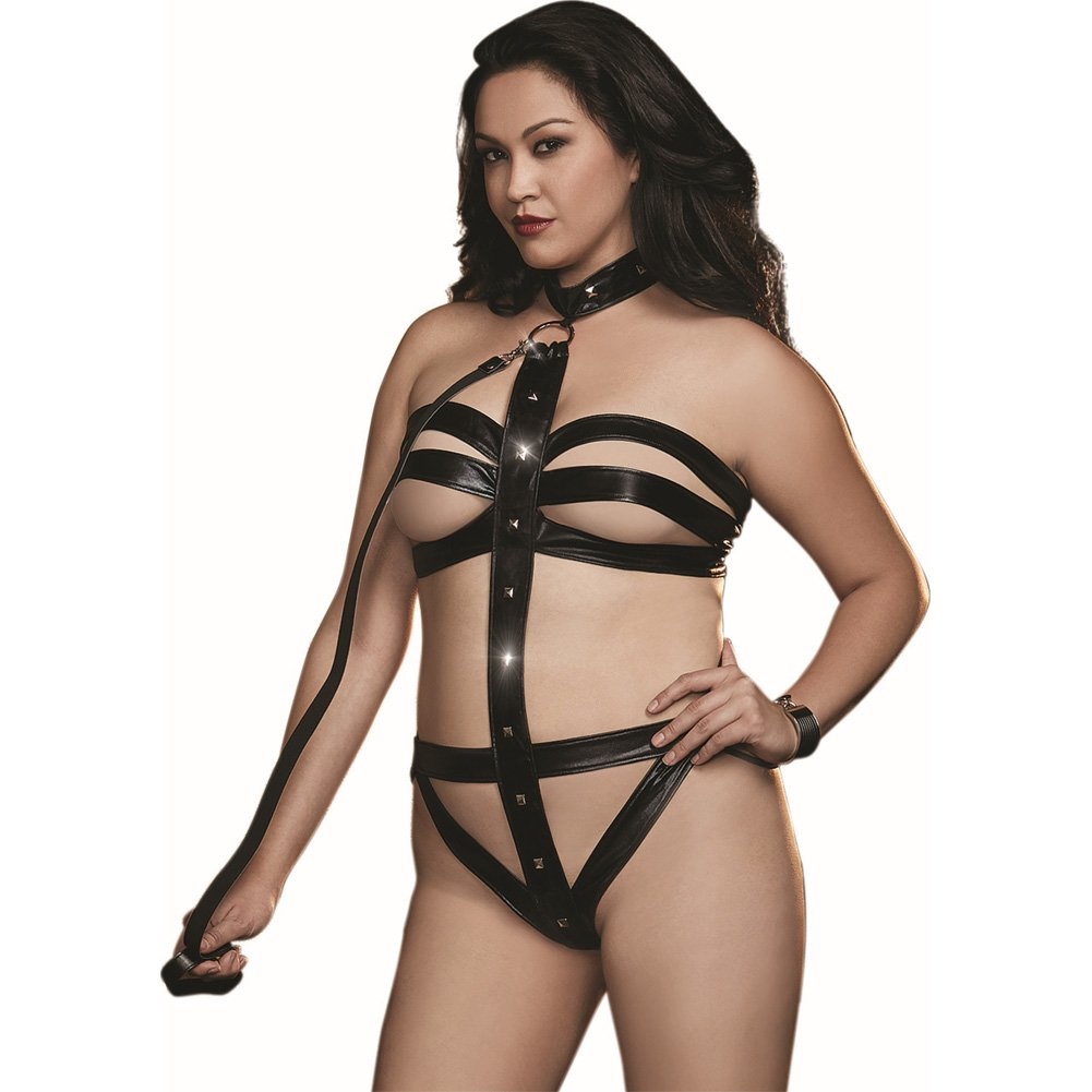Dreamgirl Diamond Fetish Vinyl Microfiber Strappy Collared Teddy with Leash Queen Size Black - View #1